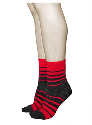 vitsocks 3 Paar Damen Wollsocken, PREMIUM MERINO WOLLE, Klimaregulierende Wirkung, Classic (39-42, Rot/Grau) -