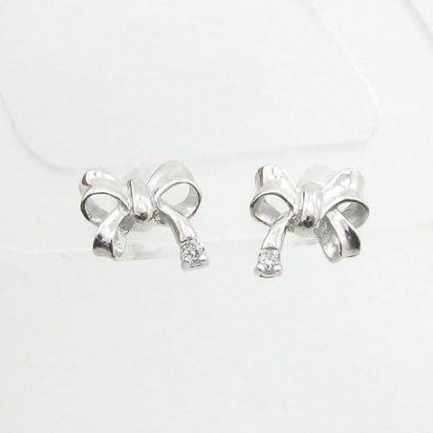 charm-pendants Womens BP48Orecchini a perno italiana, Oro bianco 14K cerchio