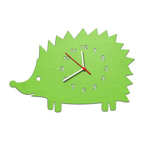 Niños Reloj De Pared En Madera, de erizo Diseño para niñas y niños sin tic tac) según sin Reloj de 30cm Grande en 5colores. Fabricado en Alemania., verde