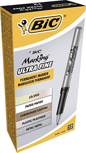 BIC Marking Ultra Fine Marcadores Punta Ultrafina - Negro, Caja de 12 unidades