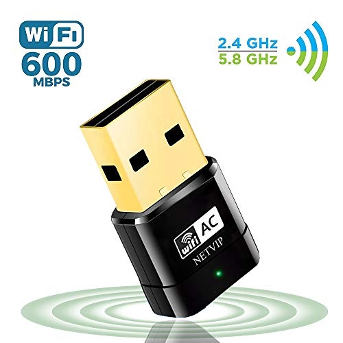 NETVIP Adattatore WiFi USB 600Mbps, Dual Band(5G/433Mbps + 2.4G/150Mbps) Dongle WiFi Supporta con USB 2.0 per Laptop, PC Compatibile con Window XP / 7/8 /8.1/10/ Vista (32/64bits) / Mac OS