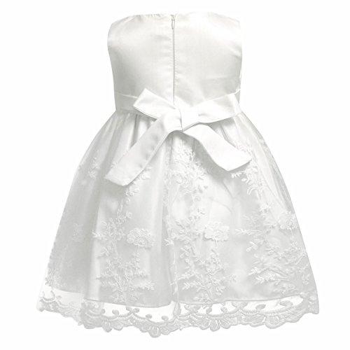 iiniim Baby Mädchen Prinzessin Kleid Blumenmädchenkleid Taufkleid Festlich Kleid Hochzeit Partykleid Festzug Babybekleidung Gr. 68-92 Ivory 68-74 / 6-9 Monate - 3
