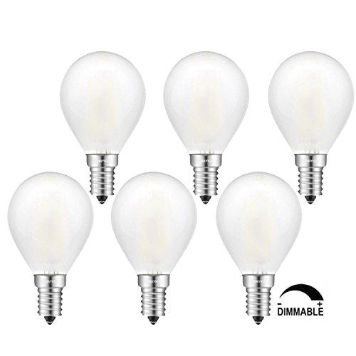 TAMAYKIM G45 6W Dimmbar Antik Edison Stil Kugel Glühfaden LED Lampe, 5000K Tageslichtweiß 600 Lumen, 60W Entspricht Glühlampe, E14 Fassung, Matt Glas, 360° Abstrahlwinkel, 6er-Pack