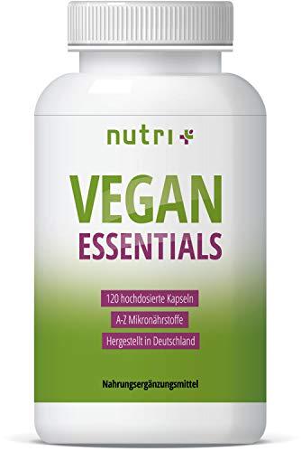 VEGAN ESSENTIALS 120 Kapseln - Complete Präparat für Veganer - Nutri-Plus Daily mit Vitamin B12, D3, Eisen, Selen, Omega 3 (DHA) - Mineralien & Vitamine hergestellt in Deutschland (Omega-3-plus)