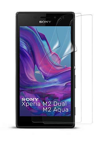 moex 2X Sony Xperia M2 | Schutzfolie Klar Bildschirm Schutz [Crystal-Clear] Screen Protector Display Handy-Folie Dünn Bildschirmschutz-Folie für Sony Xperia M2 / M2 Dual / M2 Aqua Bildschirmfolie