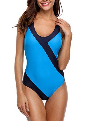 CharmLeaks Damen Einteiler Kontrast Figuroptimizer One Piece Bandeau Badeanzug Elegant Blau & Dunkelblau XL