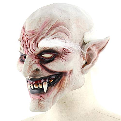 WULIHONG-MaskeNeue Kostüm Horn Maske Weißbrauner Alter Dämon Halloween Horror Teufelsmaske Vampire Haunted House Evil Killer (Ice Dämon Kostüm)