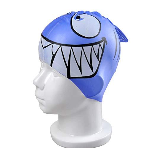 hou zhi liang Kinder-Badekappe Fun-Entwurfs-Silikon-Jungen-Schwimmen-Kappen Tier Fisch geformt Mädchen Schwimmen Hüte für Kinder Blauhai