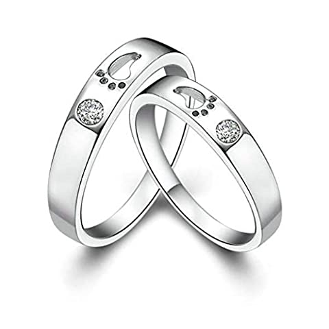 Gnzoe Men Wedding Ring Band Cubic Zirconia Rings Footprint Love Witness 3mm (Price One Pc)