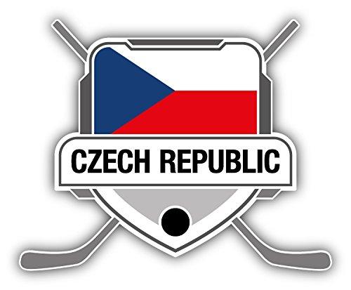 Czech Republic Flag Hockey Crest Auto-Dekor-Vinylaufkleber 12 X 10 cm
