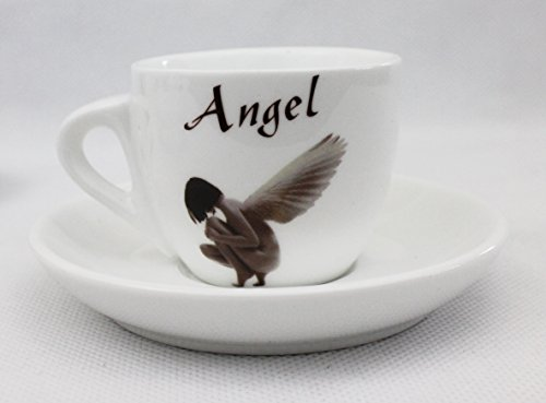 Edle Espressotasse mit Untertasse aus schönem Porzellan weiß mit unserem Espresso Angel Motiv dickwandig 80 ml (auch als Set erhältlich)