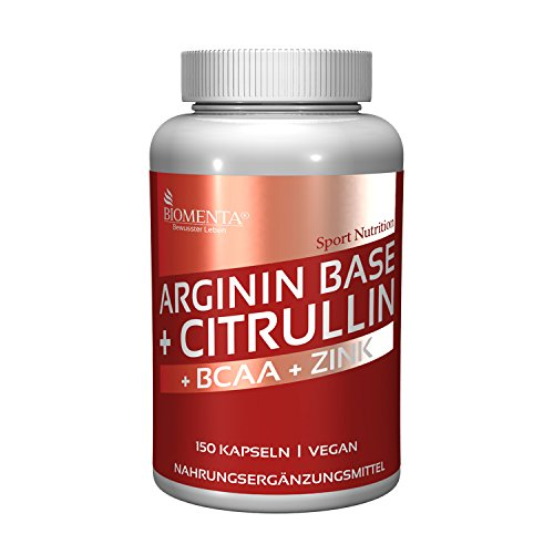 BIOMENTA 3.500 mg L-ARGININ BASE + 1.000 mg L-CITRULLIN MALAT + 1.000 mg BCAA | 150 ARGININ CITRULLIN KAPSELN | OHNE TRENNMITTEL ODER SONSTIGE ZUSÄTZE (Potenz Vitamin Natürliches)