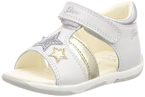 Geox B Tapuz A, Sandales Bout Ouvert bébé Fille, Blanc (White/Silver), 19 EU