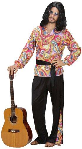 Widmann 7620Y - Erwachsenenkostüm Hippie Geck, Shirt, Hose und Gürtel