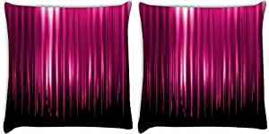 Snoogg Pink Rays Falling Pack Of 2 Digitally Printed Cushion Cover Pillows 14 X 14 Inch