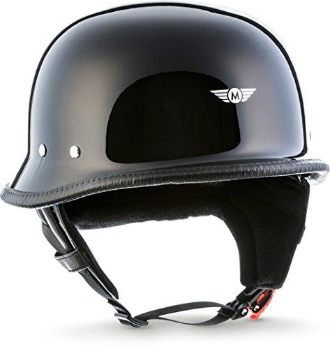 Moto Helmets D33 'Leather Black' · Brain-Cap · Halbschale Jet-Helm Motorrad-Helm Roller-Helm Scooter-Helm Bobber Mofa-Helm Chopper Retro Cruiser Vintage Pilot · Schnellverschluss Tasche L (59-60cm)