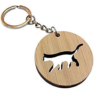Sympathische und ursprüngliches Holz Schlüsselbund in der Form des Kreises mit Katze geschnitzt handgefertigt