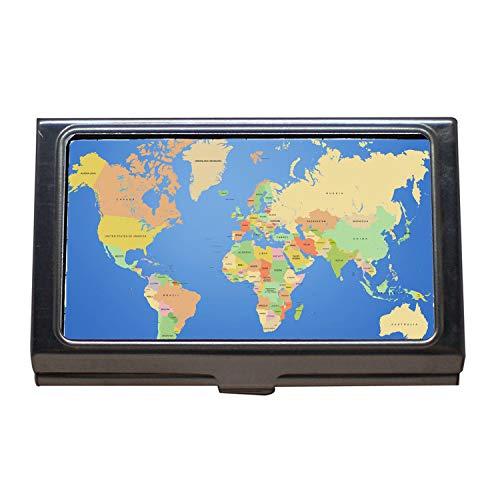 Visitenkartenetui, Kreditkartenetui, eine Karte der Welt, Desktop-Hintergründe, Hundehütte, Visitenkartenetui aus Edelstahl