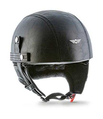 "MOTO  · D22 \""Leather Black\"" (Schwarz)  · Jet-Helm Halbschalen-Helm  · Scooter-Helm Motorrad-Helm Retro Roller Mofa Chopper  · Fiberglass Braincap Bobber  · Extra small Shell  · Click-n-SecureTM Clip  · Tragetasche  · M (57-58cm)"