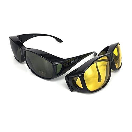 ACHATPRATIQUE Sonnenbrille ¨¹ber Brille | Set von 2 Stk | F¨¹r treibende Tage und NACHT | Anti UV401 Schutz | Wraparound Fit ¨¹ber Brille