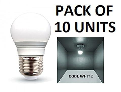 V-TAC LED 3W G45Golf Ball Leuchtmittel–10Stück–E27/ES/Standard Edison Schraube Gap–Cool weiß 6400K/250Lumen/Kunststoff-Finish/entspricht 25W Glühlampe/20.000Stunden durchschnittliche Lebensdauer/nicht dimmbar/220–240V–180Grad Abstrahlwinkel/50Hz/SKU: 7204X 10