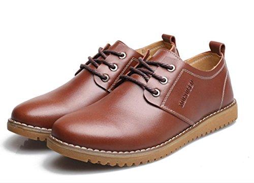 WZG chaussures en cuir décontractée de la Nouvelle-Angleterre hommes pour aider à marée basse respirant chaussures de société occasionnels Flats 9.5 , brown , 42