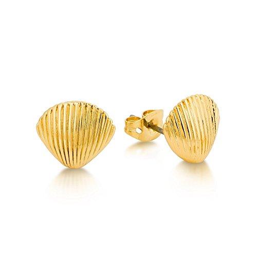 Disney Couture-Collana placcata oro, Sirenetta Ariel-Orecchini a perno con chiusura a libro