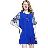 SONGQINGCHENG Neue Frauen Sommer Plus Size Women Clothing Fashion Plaid  Short Sleeve Patchwork Rüschen Am Saum 06a7f1d608