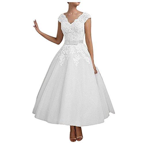 YASIOU Hochzeitskleid Standesamt Damen Weiß Vintage Tiefer Rücken A Linie Spitze mit Band...