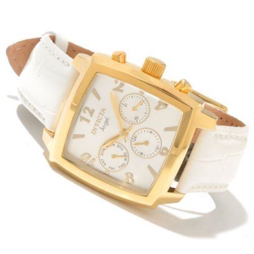 Invicta 12105 Women's Angel Swiss Quartz Golt Tone White Leather Strap Watch
