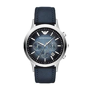 Emporio Armani AR2473 – Reloj de Cuarzo para Hombre, con Correa de Cuero, Color Azul