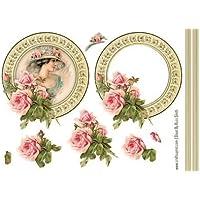 Vintage Lady con rosas decoupage por Russ Smith
