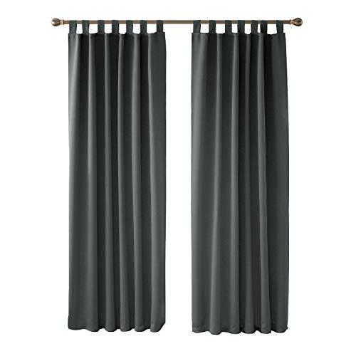 Deconovo Vorhang Blickdicht Schlaufen Vorhang Verdunkelung Gardine Wohnzimmer 245x140 cm Hellgrau 2er Set - Für Vorhänge Wohnzimmer-sets