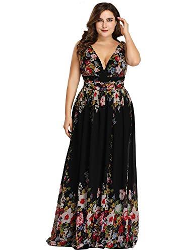 Ever-pretty vestito da sera elegante in chiffon sexy con scollo a v doppio nero e stampato 56