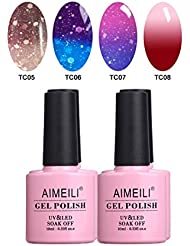 AIMEILI UV LED Thermo Gellack mehrfarbig ablösbarer Nagellack Gel Polish Set - 4 x 10ml - Set Nummer 11