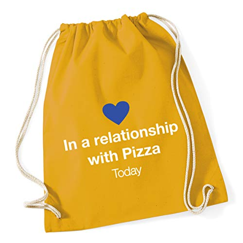 Hippowarehouse In a relationship with Pizza Drawstring Cotton School Gym Bag 37cm x 46cm, 12 litres