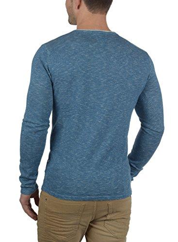REDEFINED REBEL Maverick Herren Strickpullover Feinstrick Pulli mit Rundhals-Ausschnitt und Brusttasche aus 100% Baumwolle Meliert Blue