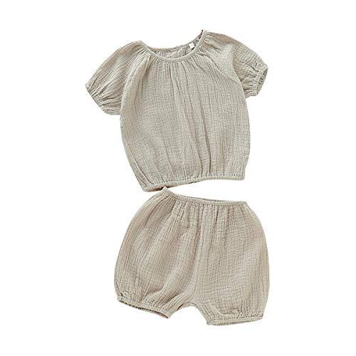 LABIUO Baby Sommer Kleidungs Set,Mädchen Puff Sleeve Kurzarm Top+Hose Set (0-3J) Babykleidung(Armeegrün,2-3 Jahre) Puff Sleeve Hoodie