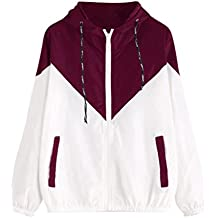 SHOBDW Mujeres 2018 nueva manga larga patchwork delgada contrarreloj con capucha bolsillos de cremallera Abrigo deportivo
