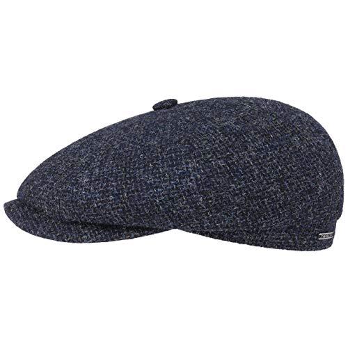 Stetson Hatteras Shetland Wool Flatcap | Schirmmütze Herren | Schiebermütze aus Wolle | Innen mit Baumwolle gefüttert | Herrencap Herbst/Winter dunkelblau 59 cm