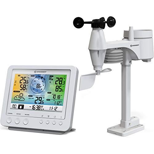 Bresser Wetterstation Funk mit Außensensor Wetter Center 5-in-1 mit 5,7 Zoll Farb-Dispay und Außensensor für Temperatur, Luftfeuchtigkeit, Wind, Luftdruck, Niederschlag (Regenmesser), weiß