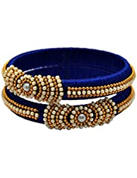Designer Royal Silk Thread Bangle Set For Women & Girls With Gold Color Beads And Pearls (Set Of 2)