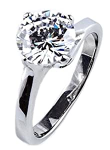 4ct Stainless Steel Stamped High Polished Solitaire Ring. Simulated Lab Diamonds Brilliant Round 8.5mm Crystal. 3.20gr. Never Tarnish. Outstanding Quality.