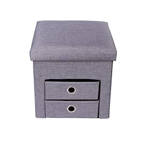 2 Cube Osmanischen (Faltschaltung Osmanischer Seat mit Flipping Lid, Lagerung Chest Foothocker Coffee Table Removable Top Cube Stool Box mit 2 Schubladen)