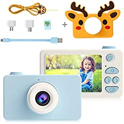 PELLOR Appareil Photo Enfants avec Carte 16GB Mini Caméra Numérique Rechargeable Anti-Choc Housse Protection Elaphurus