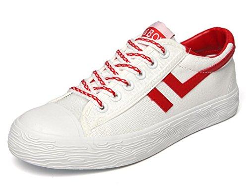 SHFANG Dame Schuhe Sommer Permeability Front Strap Flat Bottom Canvas Schuhe Bewegung Freizeit Komfortable Studenten Zwei Farben Red