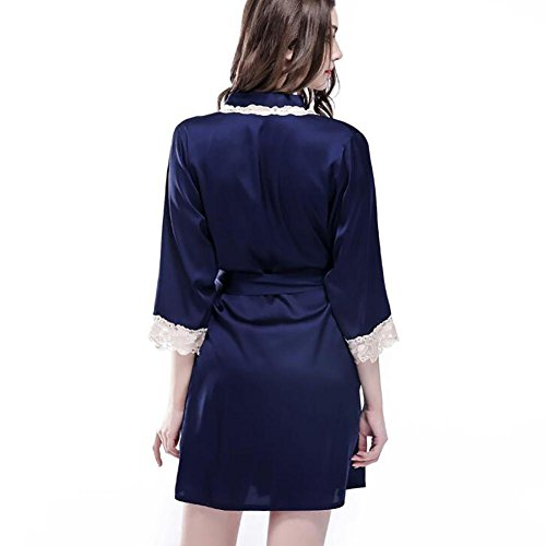 HXQ Dame Bademantel Sommer Simulation Silk Kimono Nachthemd Bademantel , red deep blue