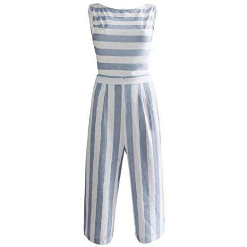 n Ärmellosen Gestreiften Overall Casual Clubwear Wide Bein Hosen Outfit (Blau, M) (70er 80er Jahre Kleidung)