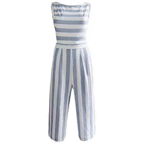 Overall,Jaminy Frauen Ärmellosen Gestreiften Overall Casual Clubwear Wide Bein Hosen Outfit (Blau, M) (70er-jahre-stil Damen Kleidung)