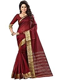 The Fashion Outlets Women's Cotton Silk Saree Maroon